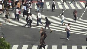 Vue au-dessus d'une foule du passage pour piétons Shibuya Tokyo Attraction touristique banque de vidéos