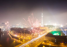 Vue au-dessus de Berlin de nouvelles années Ève 2013 Image stock
