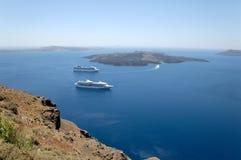Vue au-dessus de caldeira, Santorini photographie stock