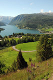 Vue au-dessus de Hardangerfjord, Norvège image libre de droits
