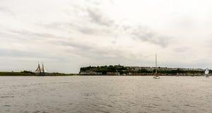 Vue au-dessus de la baie G de Cardiff Photos stock