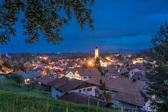 Vue au-dessus de la vallée Nesselwang photographie stock libre de droits