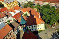 Vue au-dessus de la ville de Pisek, République Tchèque images libres de droits
