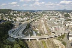 Vue au-dessus de la ville de Siegen, Allemagne Images libres de droits