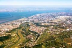 Vue au-dessus de Lisbonne - vue aérienne Photos stock