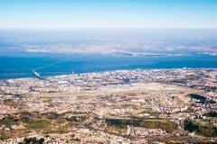 Vue au-dessus de Lisbonne - vue aérienne Photo stock