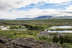 Vue au-dessus de parc national de Pingvellir, Islande photos stock