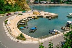 Vue au-dessus de port d'Ulcinj, Monténégro Images libres de droits