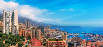 Vue au-dessus de port du Monaco, Cote d'Azur Photo libre de droits