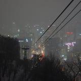 Vue au-dessus de Séoul, Corée du Sud, la nuit de la montagne de Namsan Photographie stock libre de droits