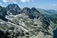 Vue au-dessus de vallée de Gasienicowa des crêtes de Granaty Image stock
