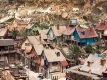 Vue au-dessus de village de Popeye, Malte Photo libre de droits