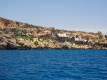 Vue au-dessus de village de Popeye, Malte Image libre de droits