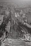 Vue au-dessus des chemins de fer urbains de terminus photo libre de droits