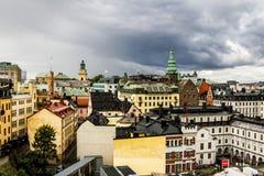 Vue au-dessus des dessus de toit et STADSMUSEUM à Stockholm sweden Photographie stock