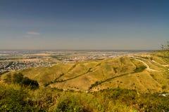 Vue au-dessus des périphéries de ville à la plaine plate Photographie stock