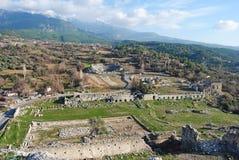 Vue au-dessus des ruines de Tlos en Turquie photographie stock
