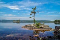 Vue au-dessus du lac Glaskogen, Suède Photos stock
