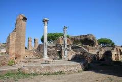 Vue au-dessus du palaestra dans Ostia Antica, Italie Photographie stock