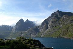 Vue au-dessus du paysage chez Lofoten Photo stock