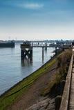 Vue au-dessus du port au port en Belgique, Dunkerque Image stock