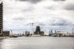 Vue au-dessus du port d'Anvers Photos libres de droits