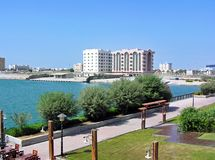 Vue au-dessus du port de Ras Al-Khaimah aux Emirats Arabes Unis EAU Image stock