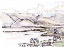Vue au golfe à Reykjavik illustration stock