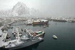Vue au port de Svolvaer, Norvège Photo libre de droits
