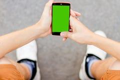 Vue au téléphone portable Photo stock