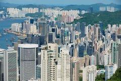 Vue aux bâtiments modernes de la ville de Hong Kong en Hong Kong, Chine Images stock