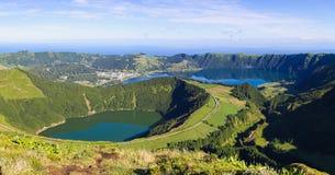 Vue aux lagunes de Sete Cidades sur les Açores Photographie stock libre de droits