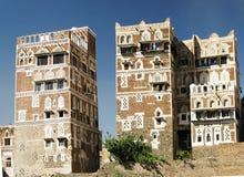 Vue aux maisons traditionnelles de Sanaa et à la vieille ville Photos libres de droits