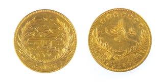 Vue avant et arrière de pièce de monnaie antique Turquie de tabouret Photo stock