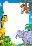 Vue avec de divers animaux africains illustration de vecteur