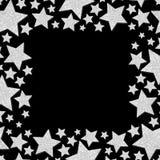 Vue avec des étoiles de miroitement Cadre argenté d'étincelle des étoiles photographie stock