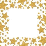 Vue avec des étoiles de miroitement Cadre d'étincelle d'or d'étoile Confettis jaunes image stock