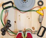 Vue avec des accessoires de sports Image stock
