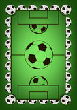 Vue avec des ballons de football Image libre de droits