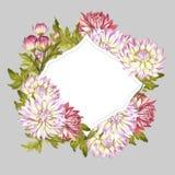 Vue avec des chrysanthèmes Illustration d'aquarelle d'aspiration de main Image stock