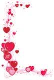 Vue avec des coeurs et des guindineaux Photo libre de droits