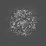 Vue avec des coquilles de mer dans le style de croquis sur le tableau Photographie stock