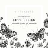 Vue avec des fleurs d'été et un papillon illustration stock