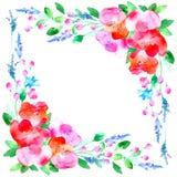 Vue avec des fleurs et des herbes illustration de vecteur