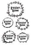 Vue avec des fleurs Logo noir d'encre de cercle La traînée des tasses Calligraphie de brosse de Japonais Tache, voie, timbre, man Illustration de Vecteur