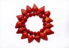 Vue avec des fraises Images stock