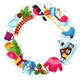 Vue avec des objets d'hiver Articles de vacances de Joyeux Noël, de bonne année et symboles Photographie stock