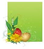 Vue avec des oeufs et des fleurs de pâques