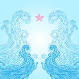 Vue avec des ondes et des étoiles de mer illustration libre de droits