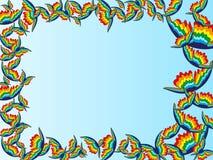 Vue avec des papillons d'arc-en-ciel illustration de vecteur